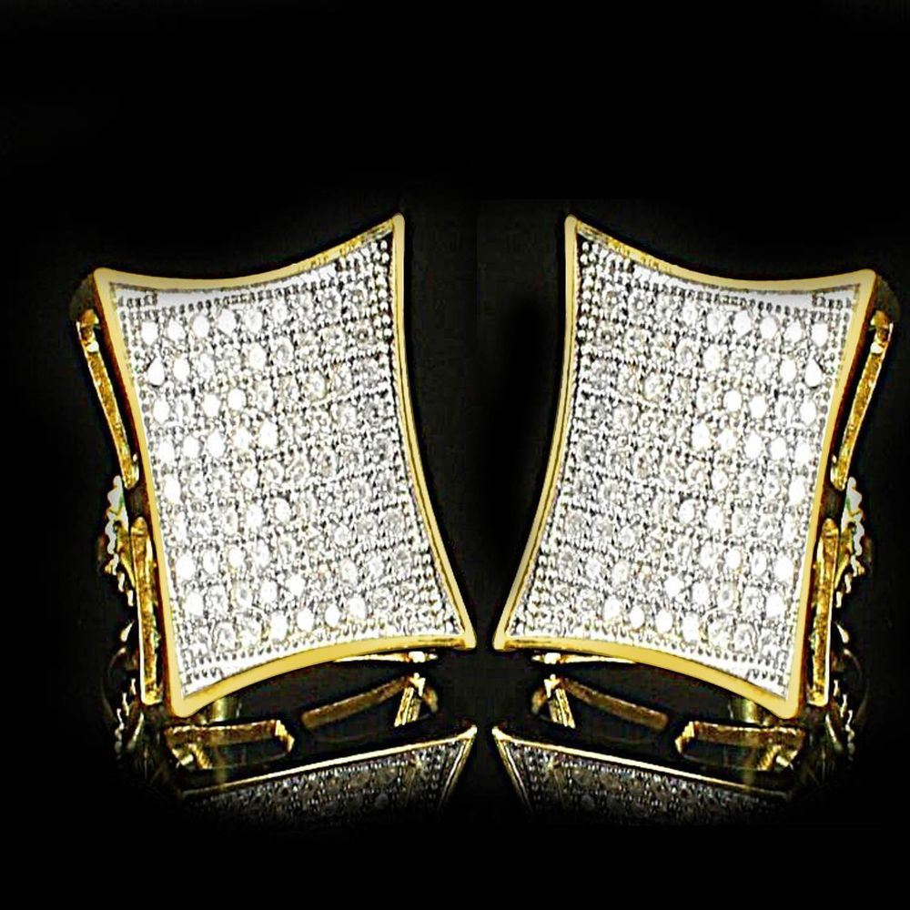 Mens Block Square Flat Screen 14k Yellow Gold Silver 925 Earring Stud Micro Pave Jpjewels8