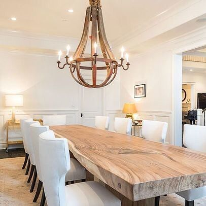 Mix Textures This Thick Live Edge Slab Table Transforms This Space From Ordinary To Extraordinary Large Dining Room Wood Dining Room Table Wood Dining Room