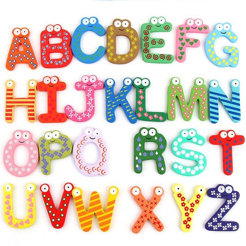 26pcs Letters Words A-Z Kids Wooden Alphabet Fridge Magnet Child Educational Toy