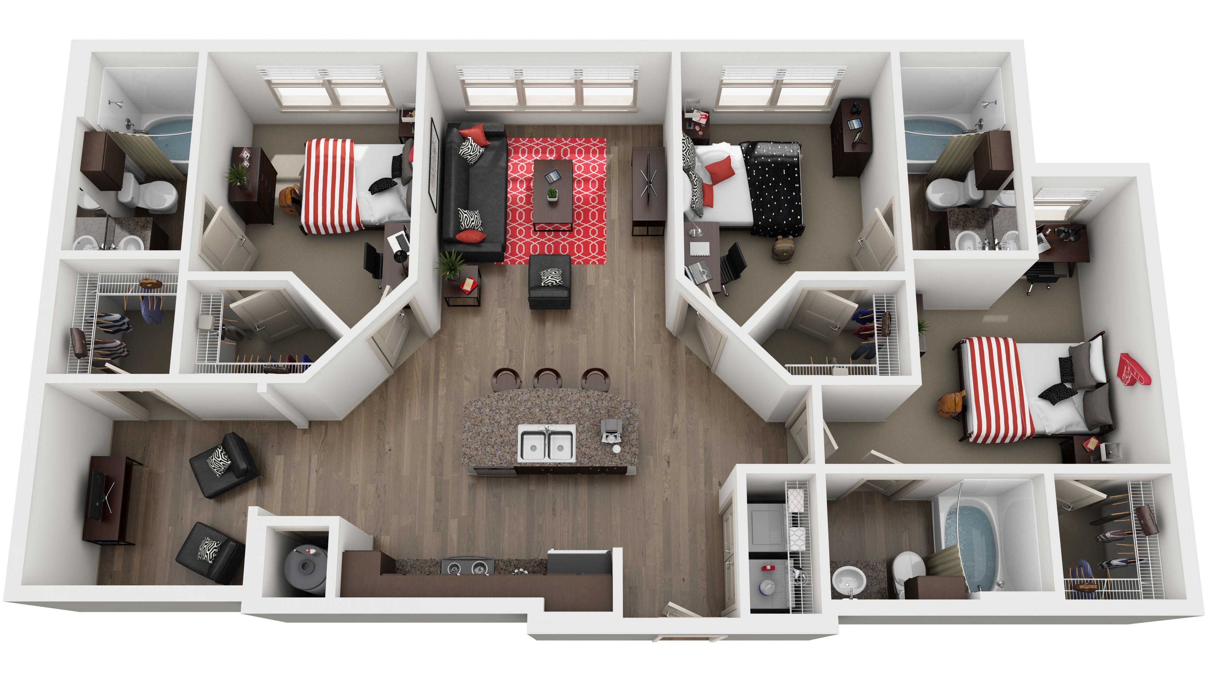 Standard 3d Floor Plans Model House Plan House Layouts Sims House Design