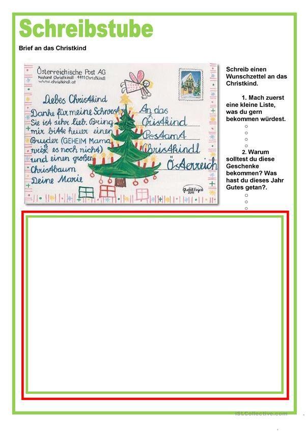 Schreibstube Brief An Das Christkind Weihnachten Brief Ans Christkind Christkind Schreiben