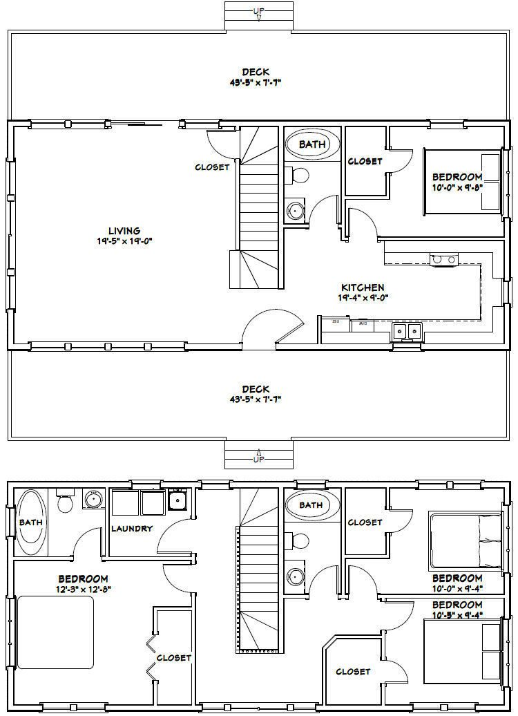 44x20 House 4 Bedroom 3 Bath 1 692 Sq Ft Pdf Floor Plan Model 1g 29 99 Picc Container House Building A Container Home Shipping Container Homes