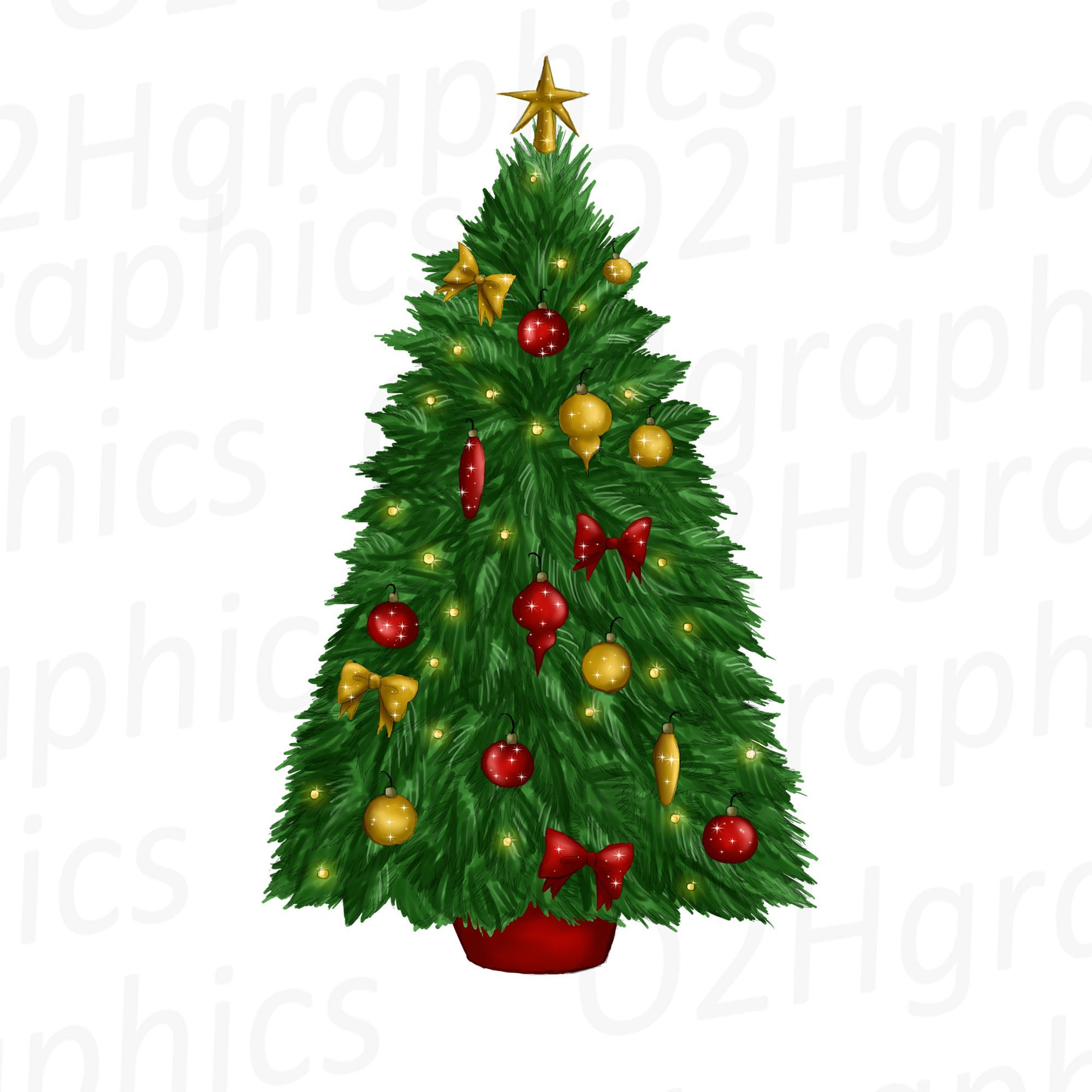 Decorated Christmas Tree Clipart Sublimation Graphics Design By O2hgraphics Https Christmas Tree Decorations Christmas Tree Clipart Christmas Tree Drawing