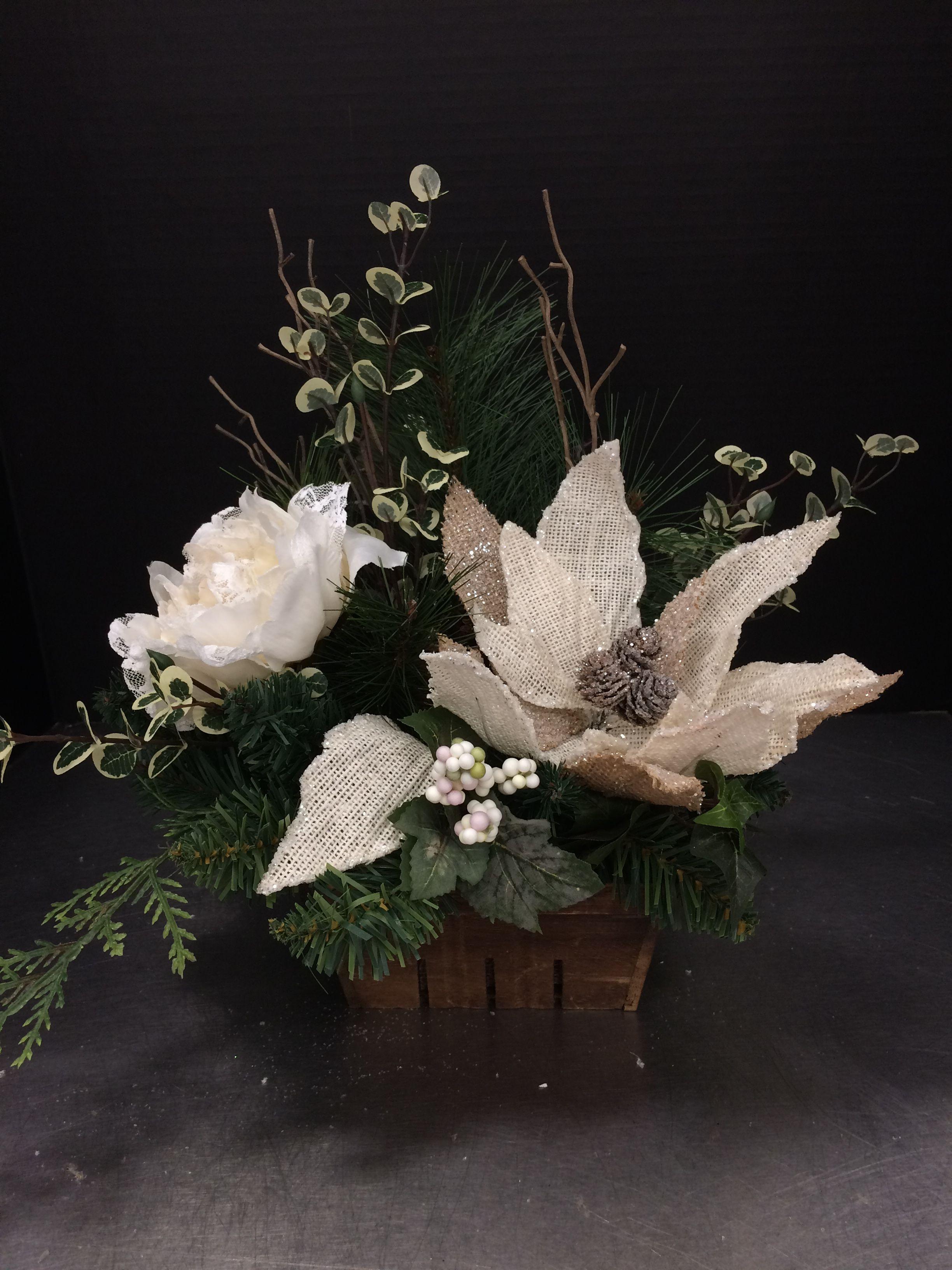 Burlap Poinsettia 2016 by Andrea