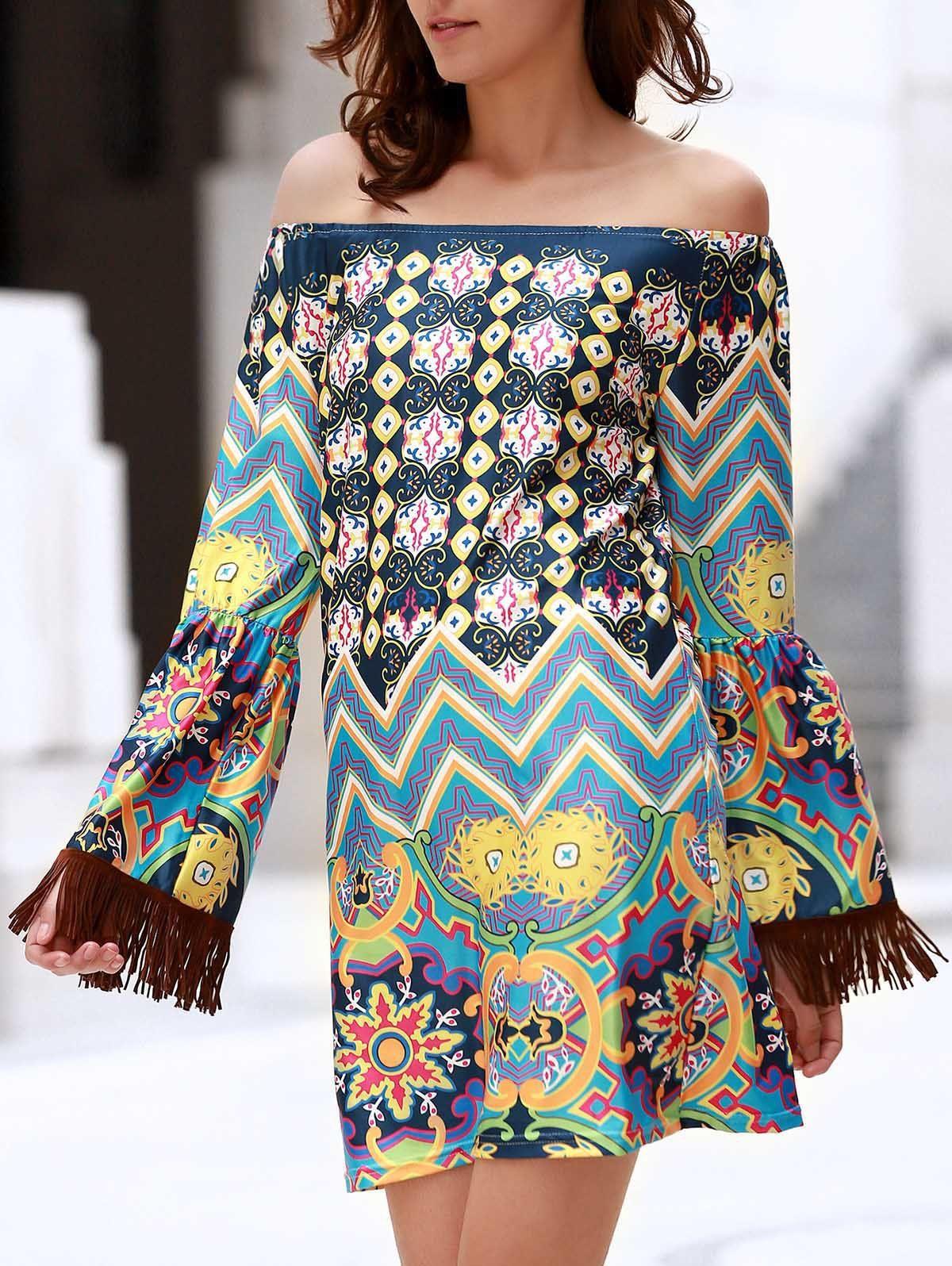 Bohemian off the shoulder ethnic print fringed dress for women