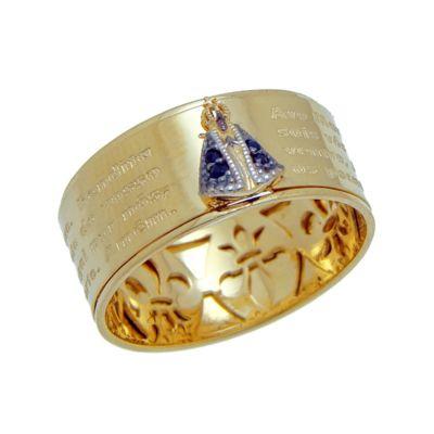 1860369395c1c ANEL NOSSA SENHORA APARECIDA Em ouro amarelo com safiras..... Acesse   www.missjoias.com.br  missjoias  aquitem  vempramiss  luxo  joias  jesus   escapulario