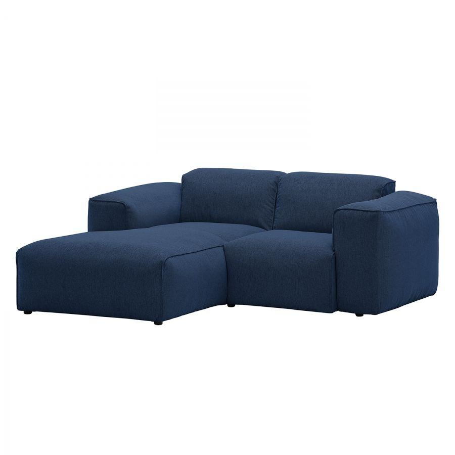 Ecksofa Hudson VII - Webstoff - Longchair/Ottomane davorstehend links - Stoff Anda II Blau