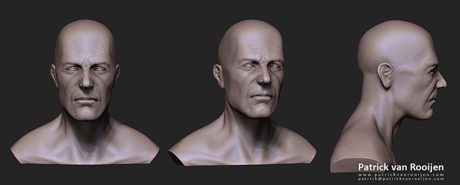 Male face study by *PatrickvanR #zbrush #sculpt #art #man #cg #3d