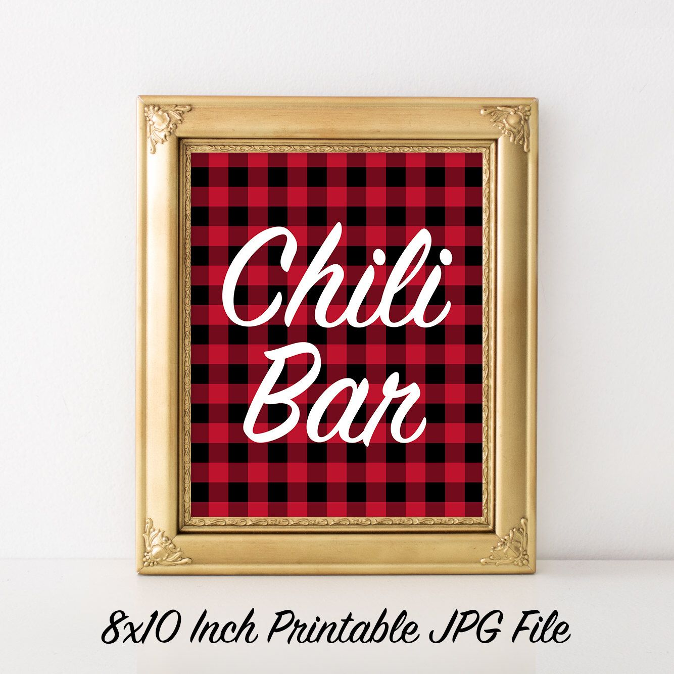 Items similar to Chili Bar Party Sign 8x10 Printable Red and Black Buffalo Plaid Party Print, Lumberjack Plaid, Buffalo Check, Fall Party, Woodsy, Cabin 20B on Etsy