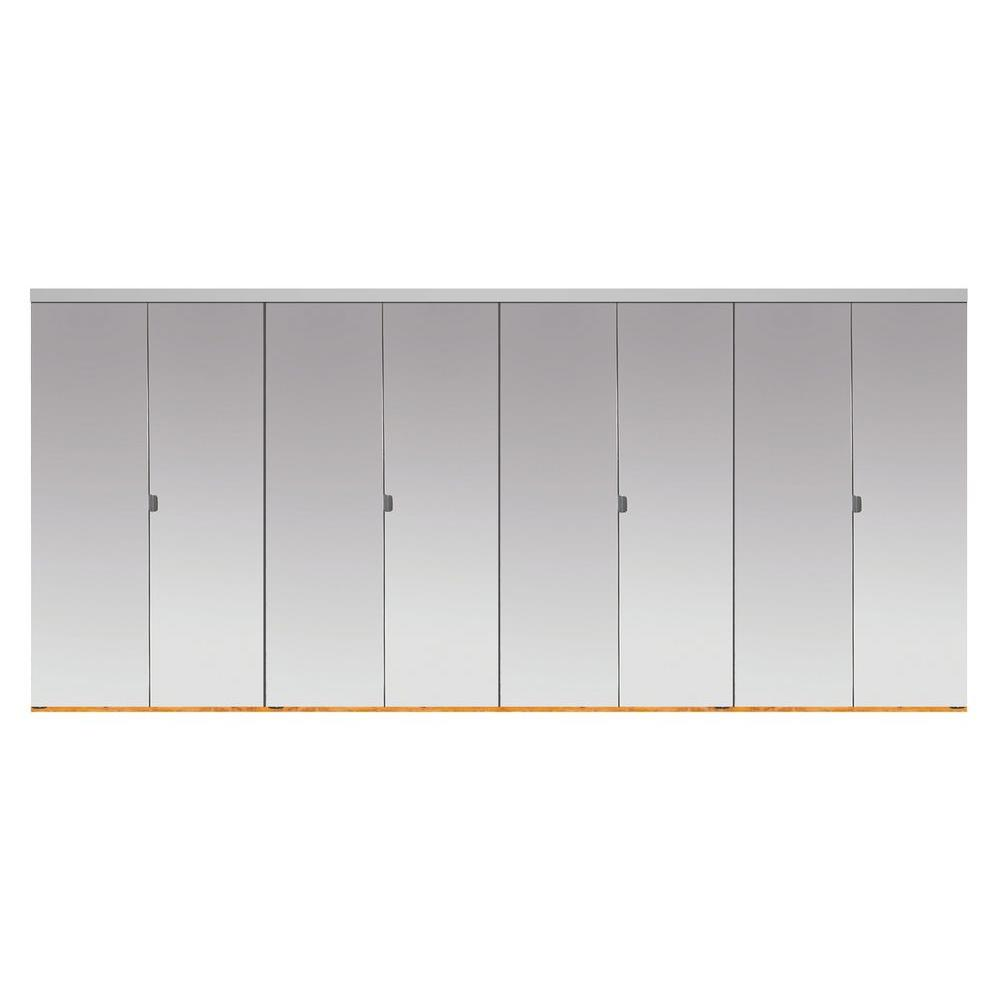 Impact Plus 120 In X 80 In Polished Edge Mirror Solid Core Mdf Full Lite Interior Closet Wood Bi Fold Door With Chrome Trim Beveled Edge Mirror Mirror Closet Doors Solid Doors