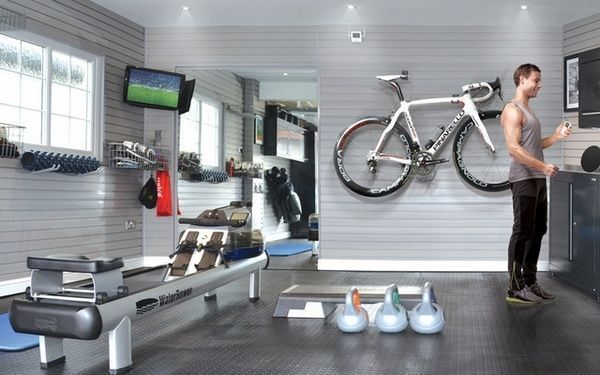 Modern home gym garage gym ideas garage gym equipment ideas gray