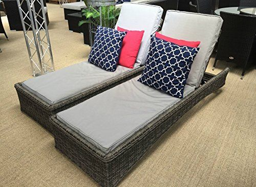 oakita pair of venice all weather grey rattan garden furniture loungers pool sun beds and coffee table this is an exclusive oakita product we sell direct - Garden Furniture Loungers