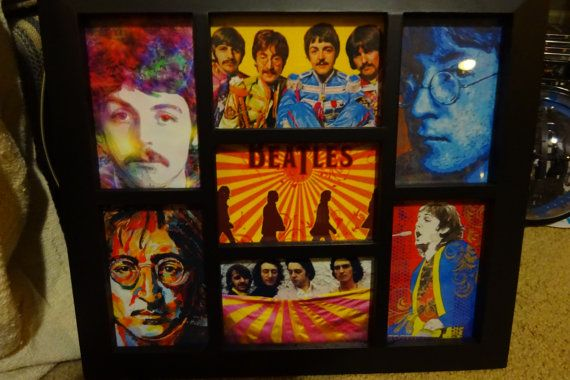 abstract beatles collage picture with frame