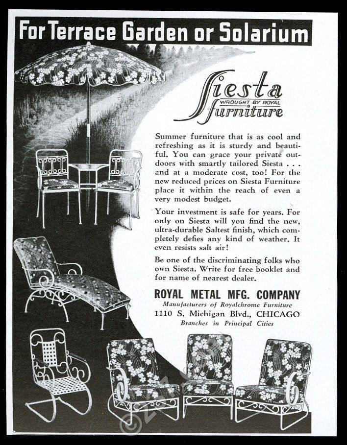 1939 Royal Fiesta wrought iron furniture chair table chaise vintage ...