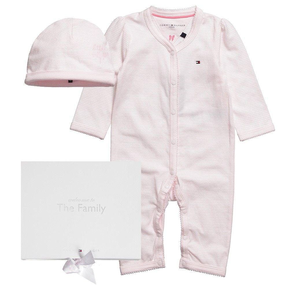£50 TOMMY HILFIGER Baby Girls Pink Hat and Romper Set - Babysuits - Baby |
