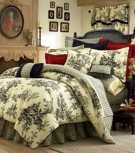 Image Detail For 4pc Thomasville Bouvier Black Ivory Classic Toile Comforter Set Queen French Country Bedrooms Country Bedroom Home