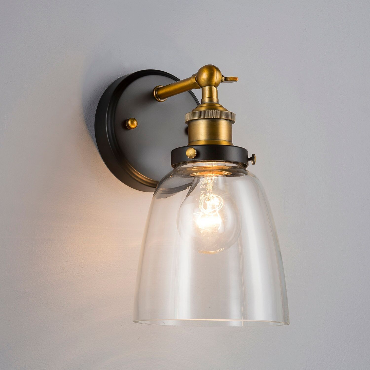 Fiorentino One-Light Wall Vanity Corridor Sconce Lamp With LED Edison Bulb  Included. Brushed