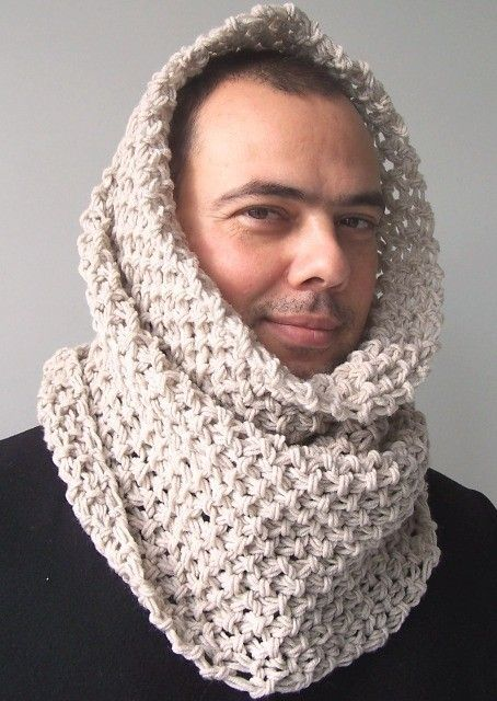 Hooded Circle Scarf Knitting Pattern : Mens Hooded Scarf - Circle Scarf - Mens Cowl - Mans scarf ...