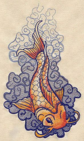 Classic tattoo style  Koi embroidered feeding by MorningTempest, $16.75
