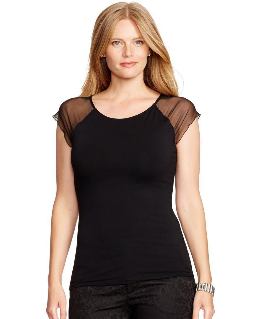 Lauren Ralph Lauren Plus Size Sheer-Sleeved Jersey Top