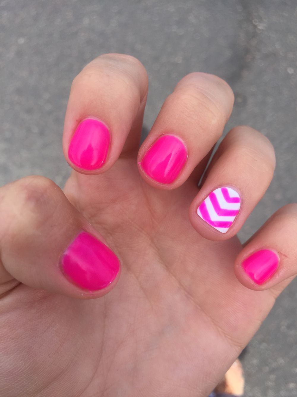 Neon pink and white chevron gel nails nail ideas pinterest