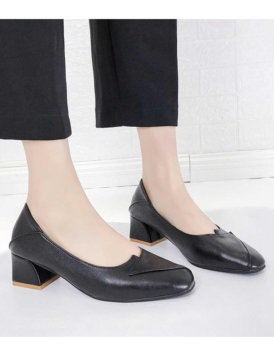 Black Square Toe Slip On Heel Dress Shoe Fold Style Womens Black Heels Heels Dress Shoes [ 1200 x 924 Pixel ]