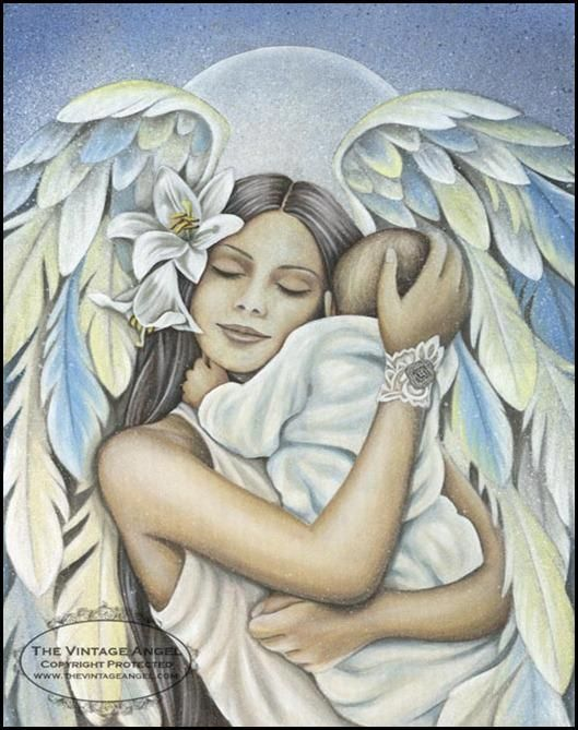 Angel Pictures, Fantasy Art, Heavenly Angels, Angels In Heaven, Holding Baby