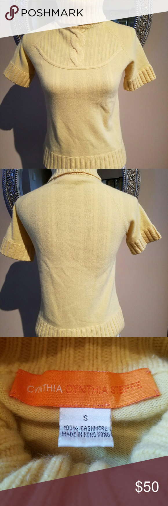 Cynthia Steffe Pale Yellow Cashmere Sweater | Turtlenecks ...