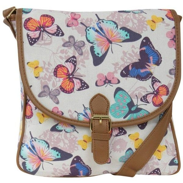 Pilot Butterfly Print Cross Body Messenger Bag ($17) ❤ liked on Polyvore featuring bags, messenger bags, cream, crossbody messenger bag, messenger bag, crossbody bags, courier bag and pilot bag