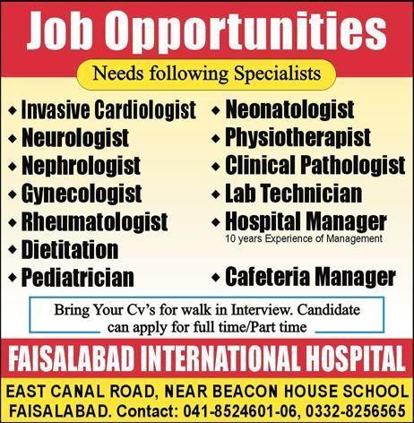 Faisalabad International Hospital Jobs 2017 For Hospital Manager And ...