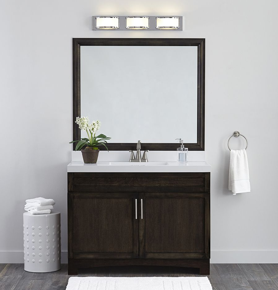 Finish an unframed vanity mirror with MirrorMate. The custom-cut ...