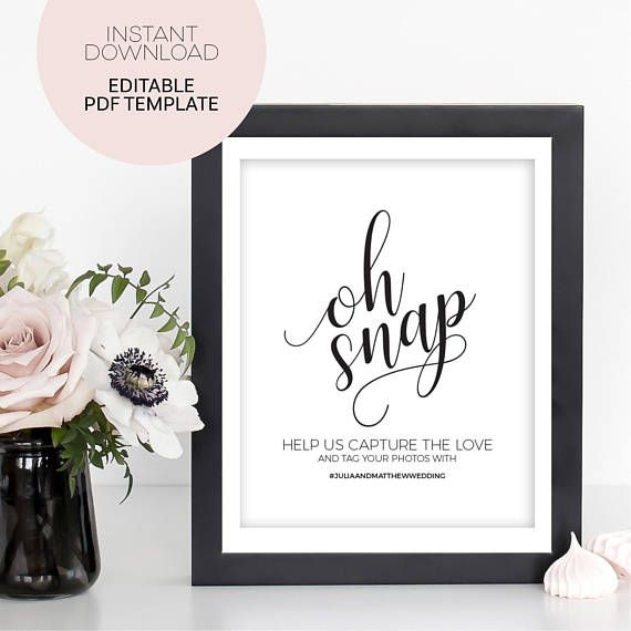 Wedding Hashtag Sign Oh Snap Wedding Sign Oh Snap Sign