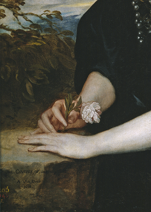 artgif:Anthony van Dyck (1599-1641), Portrait of Beatrice, Countess of Oxford (detail), 1638