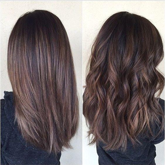 Medium Hair Styles Chocolate Brown Hair With Balayage Medium Length Shown Straight And Curly Brown Hair Balayage Hair Lengths Hair Styles