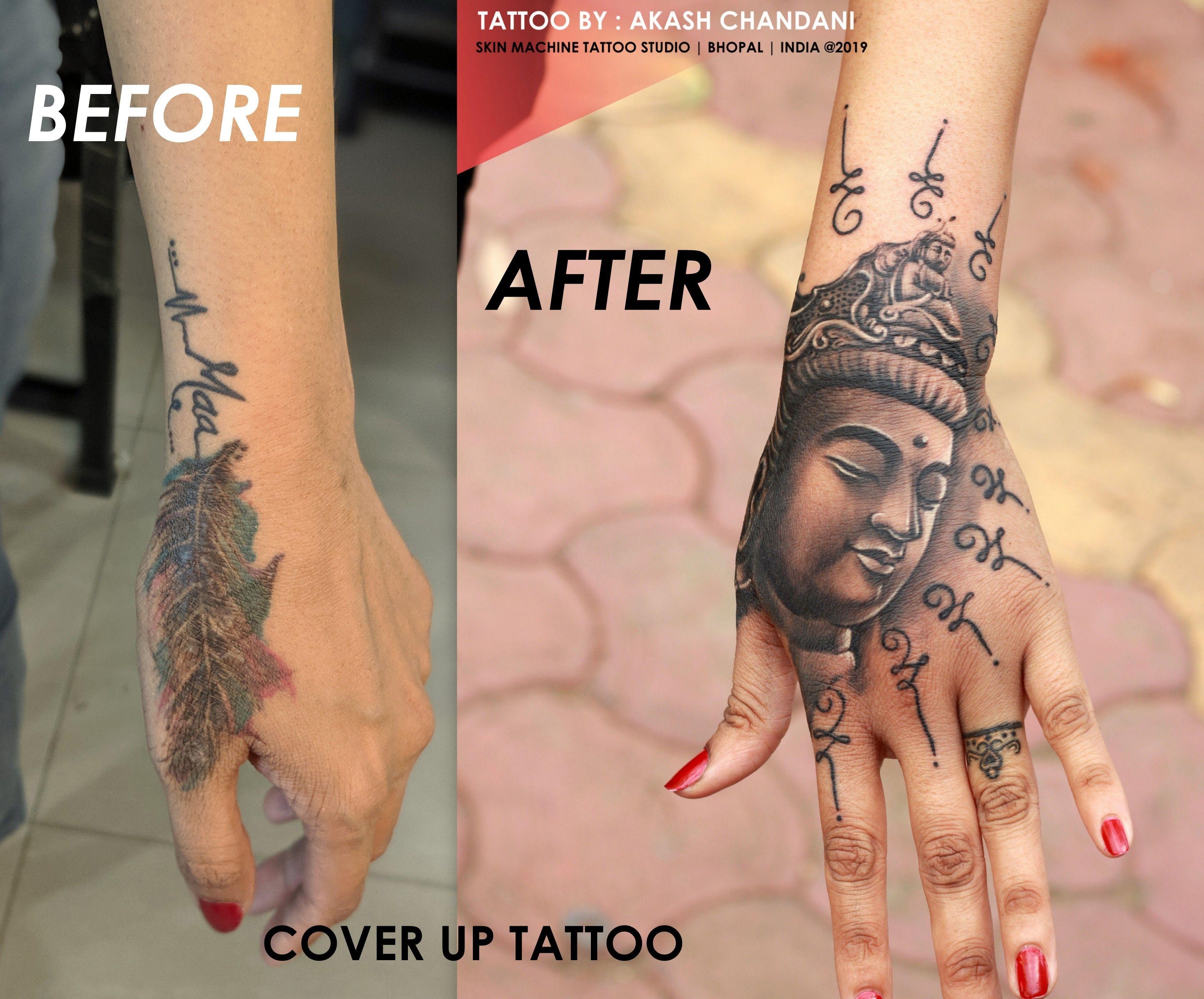 Cover Up Tattoo In 2020 Tattoo Studio Hand Tattoo Cover Up Buddha Tattoo Sleeve