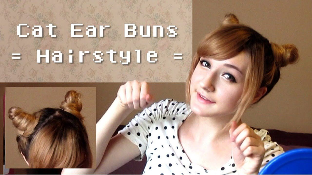Cute Cat Ear Buns Hairstyle Great Idea For Chibi Usa Even Though This Video Doesn T Says It Add Hair Extensions For The Pigt Bun Hairstyles Cat Ears Hairstyle