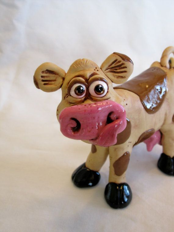 Daisy Cow Polymer Clay Sculpture by mirandascritters