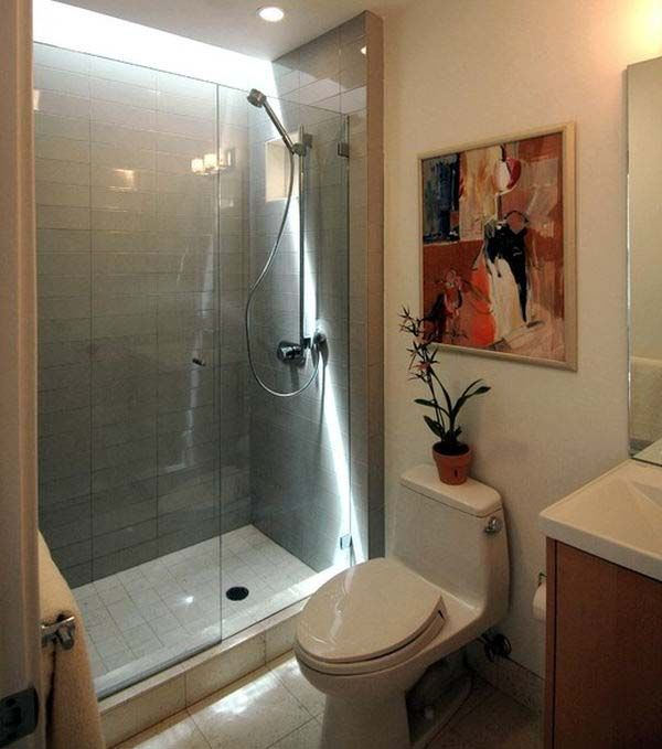 Small bathrooms with shower only small shower only for Small 4 piece bathroom designs