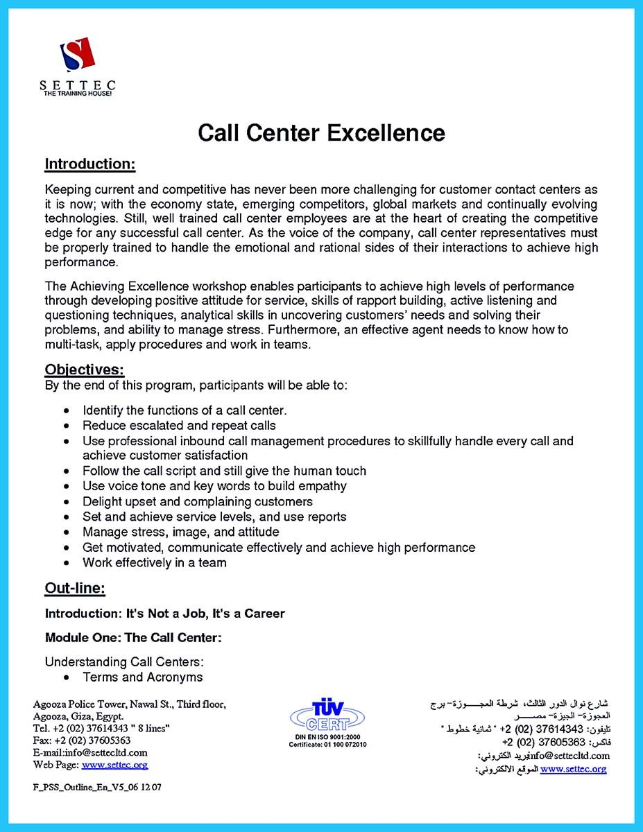 Awesome Create Charming Call Center Supervisor Resume With Perfect Structure Check More At Http Snefc Call Center Cover Letter For Resume Job Resume Samples