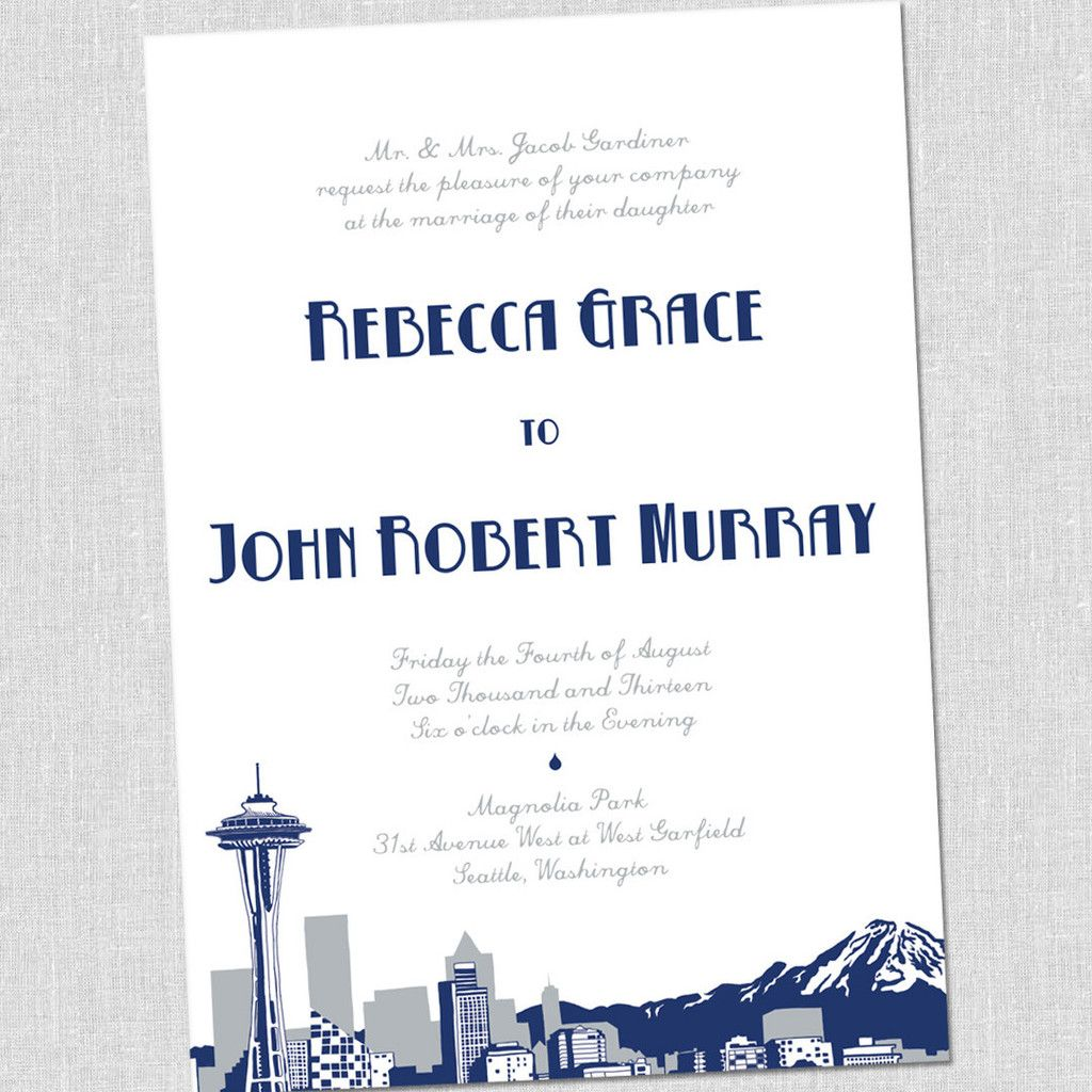 Seattle Skyline Wedding Invitation South City Press Wedding