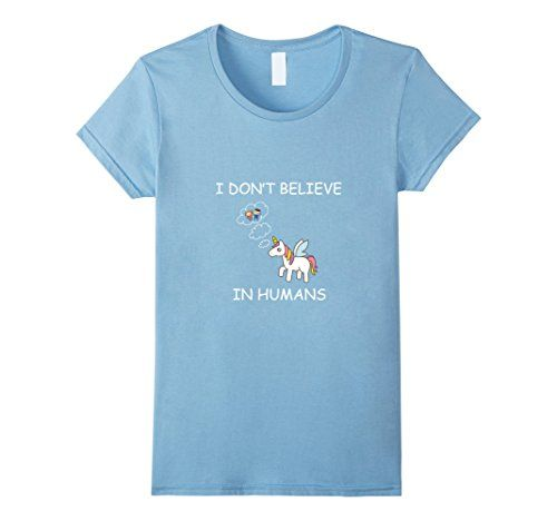 Women's Unicorn - I Don't Believe in Humans Small Baby Bl...…