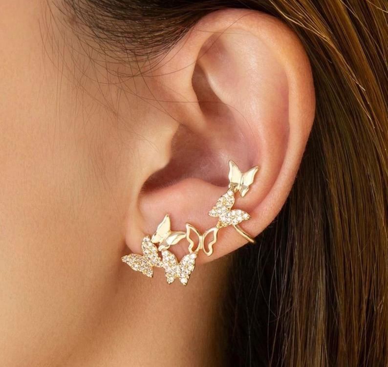 Butterfly Dangle Earrings Korean Earrings Korean Jewelry Dainty Earrings Butterfly Tassel Earrings Gift for Her