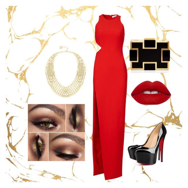 """""""vulgar chic"""" by siesta451 ❤ liked on Polyvore featuring Elizabeth and James, Sondra Roberts, Christian Louboutin, Lime Crime and BCBGMAXAZRIA"""