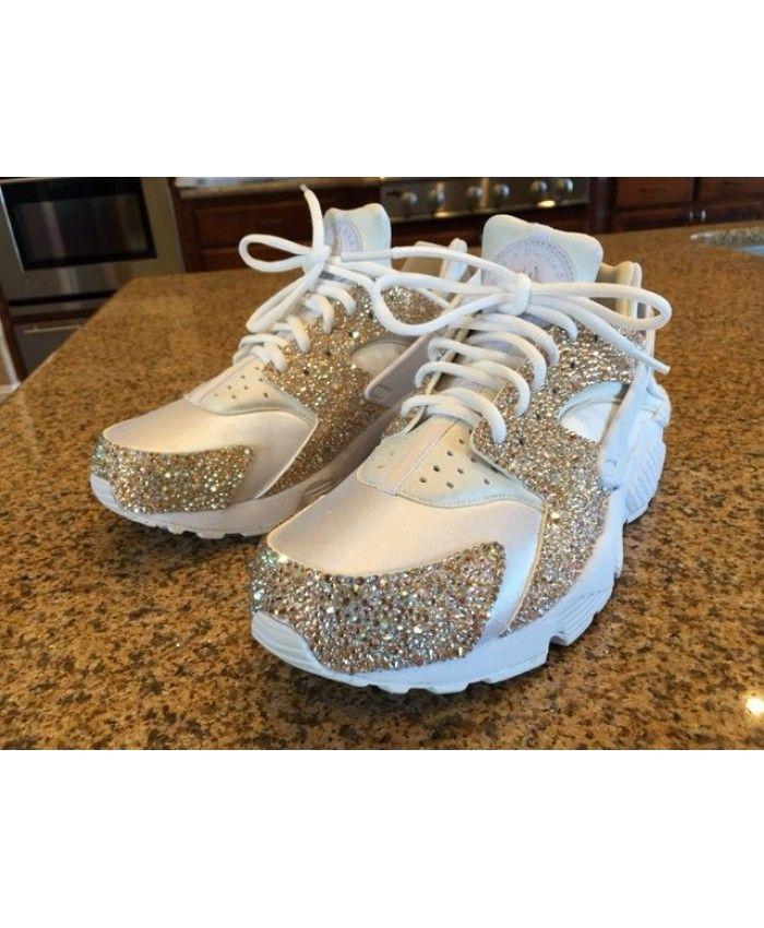 official photos 790c0 cf4e9 Mens Womens Nike Air Huaraches Womens Blinged White Cheap Online