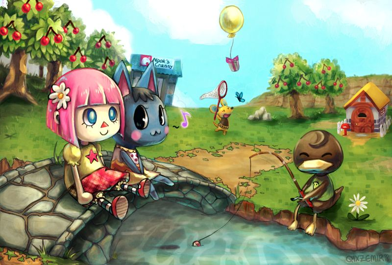 i used to try and catch the balloons with my net. (: どうぶつの森 #animalcrossing #acnl