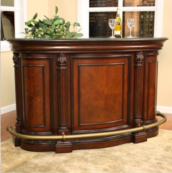 Superbe Granite Top Bar Home Pub Furniture Storage Cabinet Wood Liquor Counter  Chestnut #AmericanHeritahe