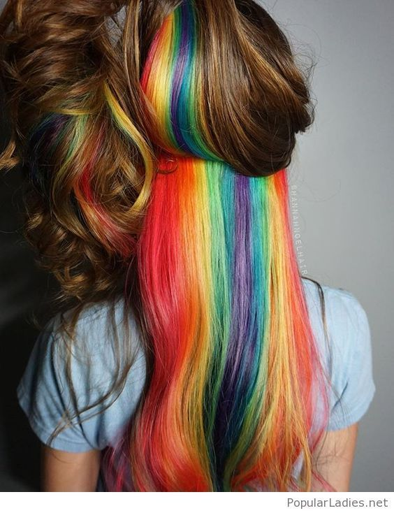 4 Rainbow Hair-Color Trends You Need to Know for 2017 | Allure  |Rainbow Hair Underneath Light