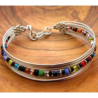 Silverplated Wire and Multicolor Bead Bracelet (Kenya) , Overstock™  Shopping , Great Deals on Global Crafts Bracelets