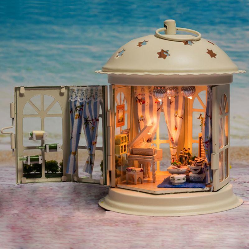 Dollhouse Miniature Metal DIY Kit w/ Light Piano Like a Dream Love