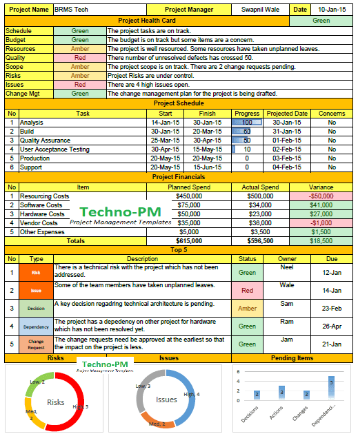 Weekly Status Report Format Excel Download | Excel | Project